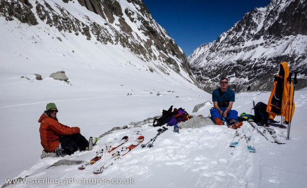 The customary picnic after all the difficulties of the Valleé Blanche