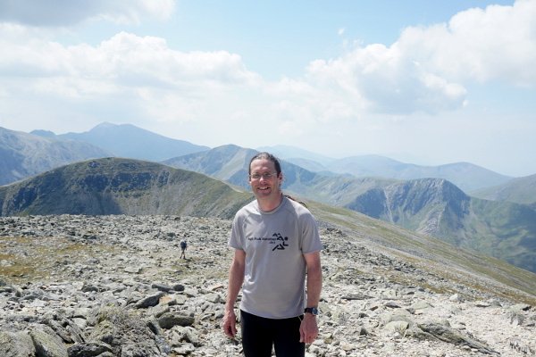 Looking back the way I'd come from the summit of Carnedd Dafydd. Pen yr Ole Wen is directly behind, with Snowdon and Crib Goch on the skyline.