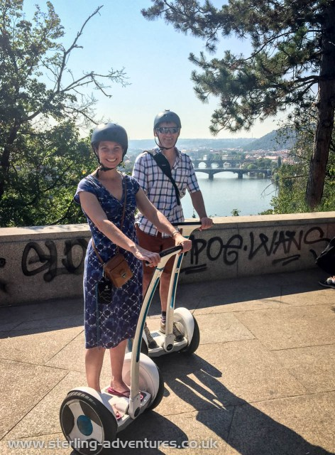 Enjoying a super fun Segway tour - great views back to the Old Town from the Letenské Park