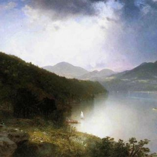 """painting entitled """"View of the Hudson"""", by John Frederick Kensett in 1865"""
