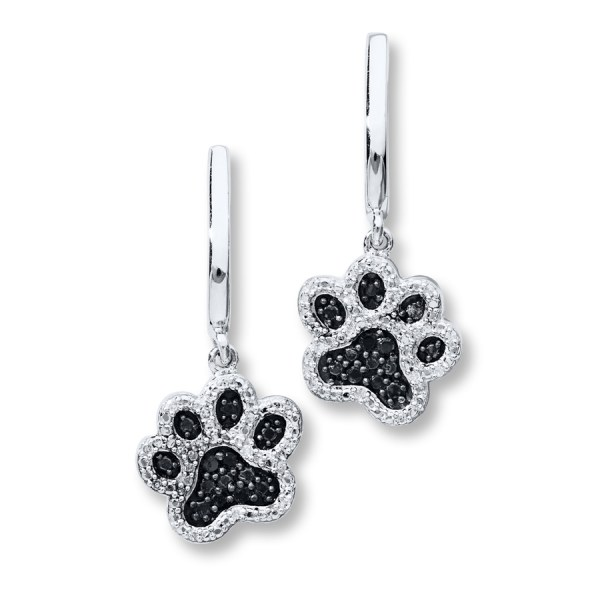 Paw Print Earrings 1 6 Ct Tw Diamonds Sterling Silver