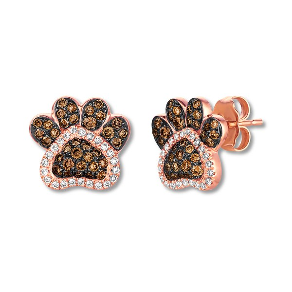Le Vian Chocolate Diamond Paw Print Earrings 1 2 Ct Tw 14k