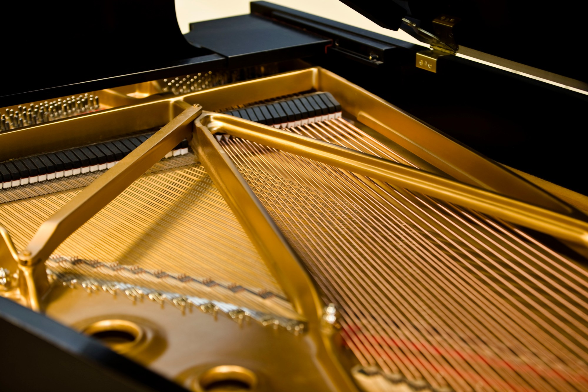 hight resolution of steinway grand piano iron plates and strings