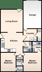 2 Bed / 2 Bath / 1,150 sq ft / Rent: $795