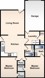 2 bed, 2 bath, 1150 sqft
