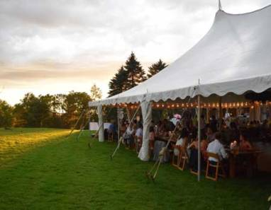 wedding-tent-set-up-with-guests at Sterling Ridge Resort