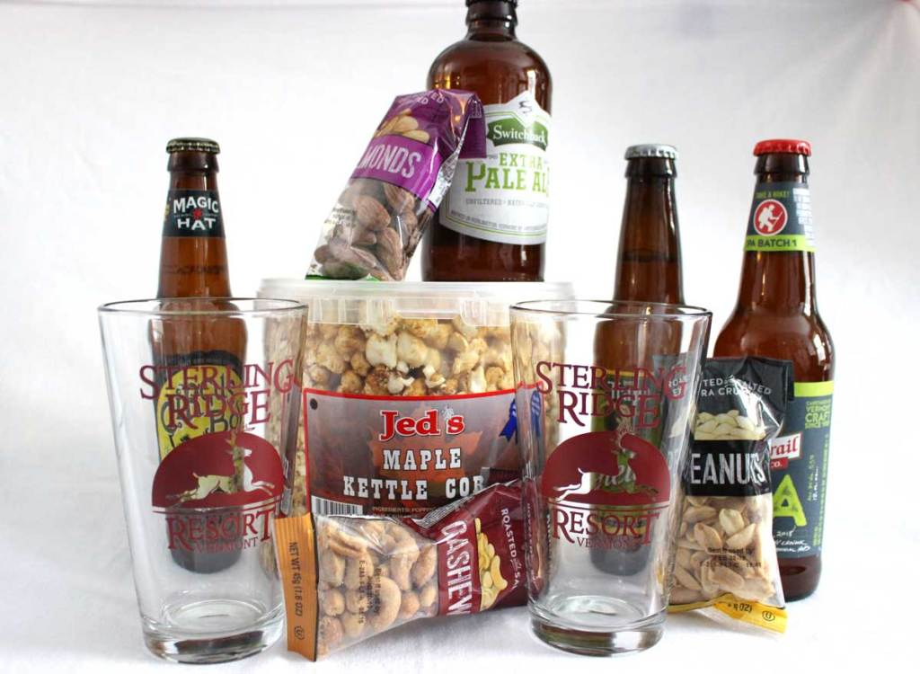 Vermont craft beer with maple popcorn and other goodies