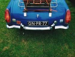 blue british car