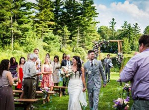 outdoor wedding with bubbles