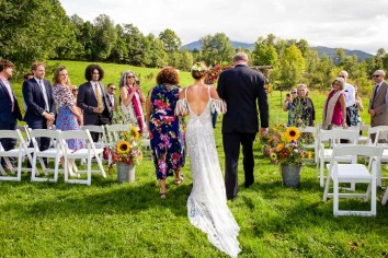 The wedding of Anna Casey and Peter Raymond in Jeffersonville, Vt., on Aug. 29, 2020. (Photo by Geoff Hansen)