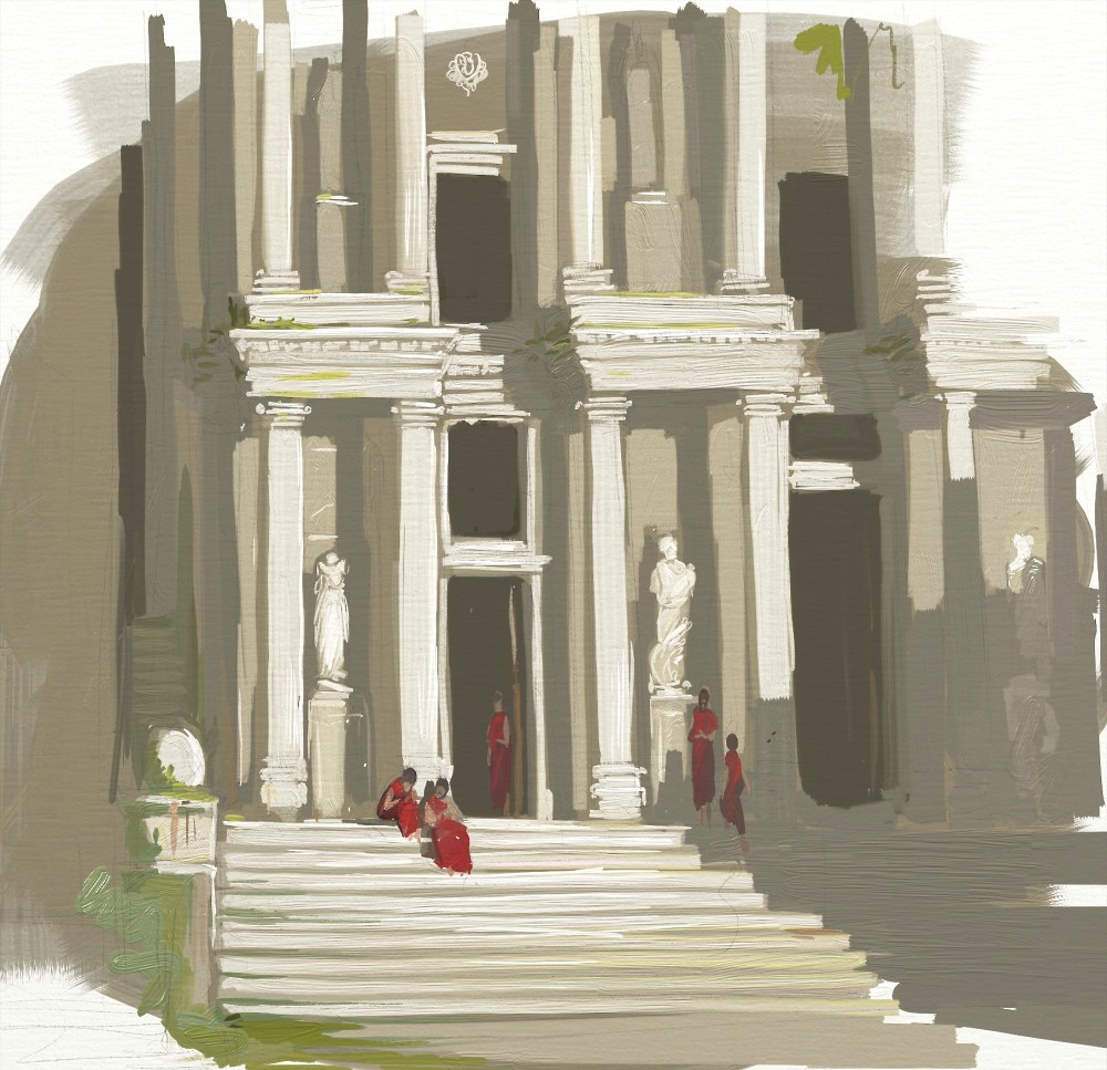 roman ruins digital oil painting