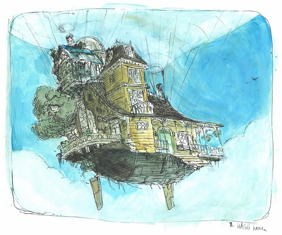 flying house with giant balloon