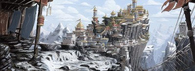 snow palace with water falls painting