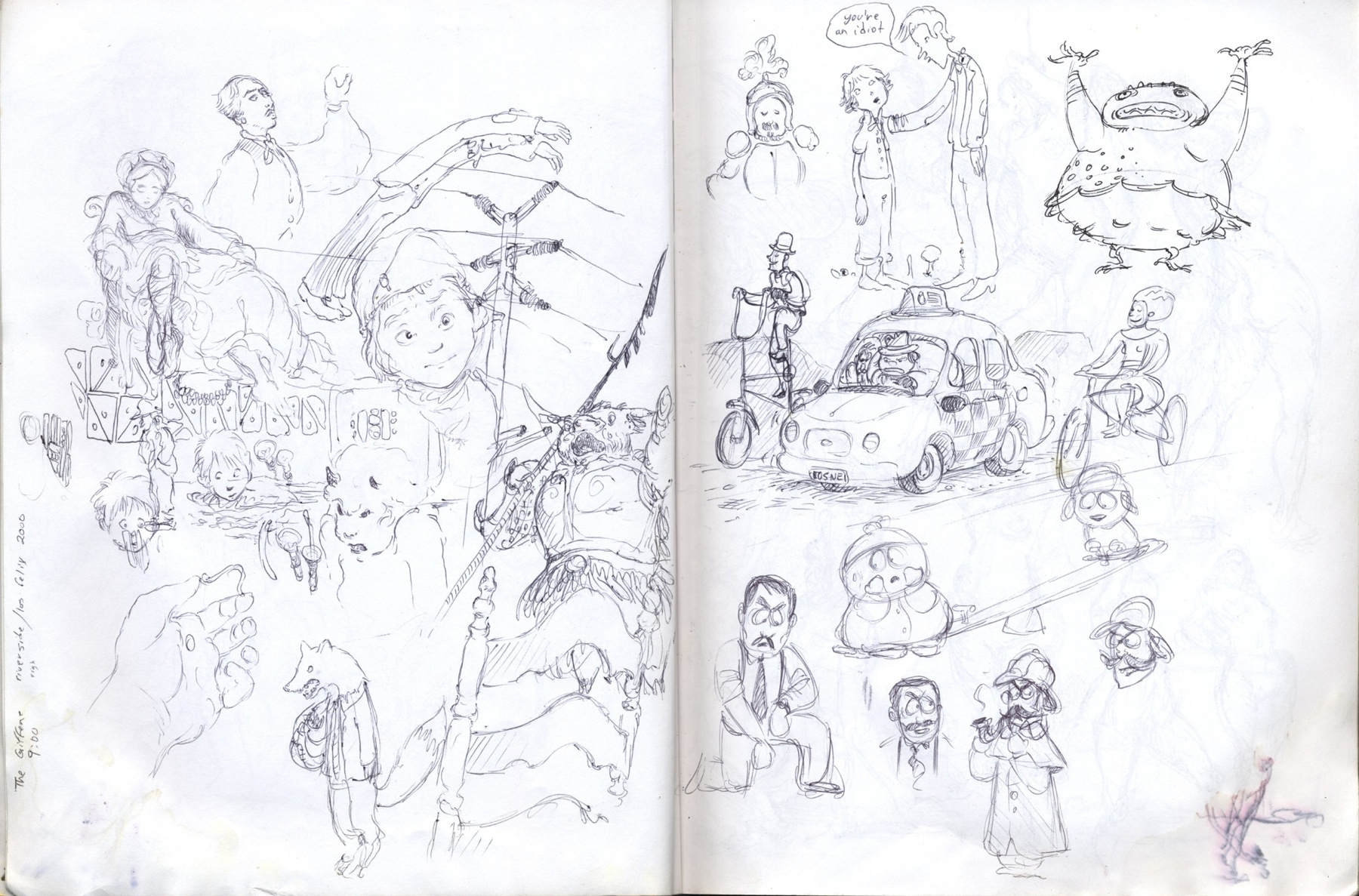 sketchbook drawing taxi, cab