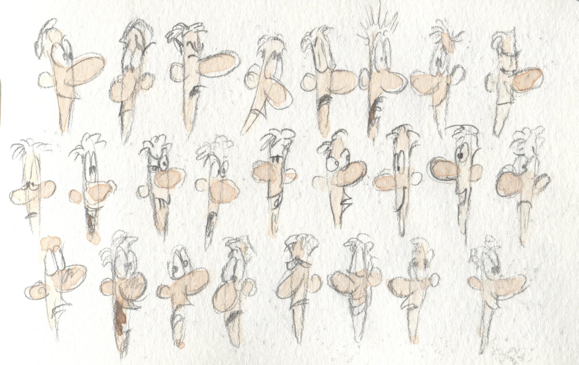 cartoon head studies