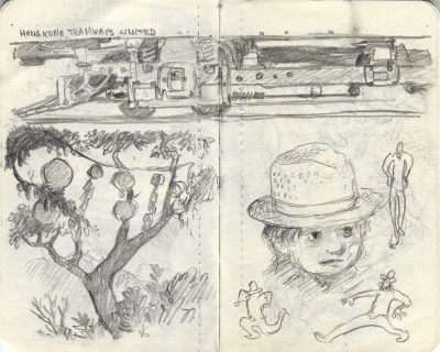 train and tree sketch