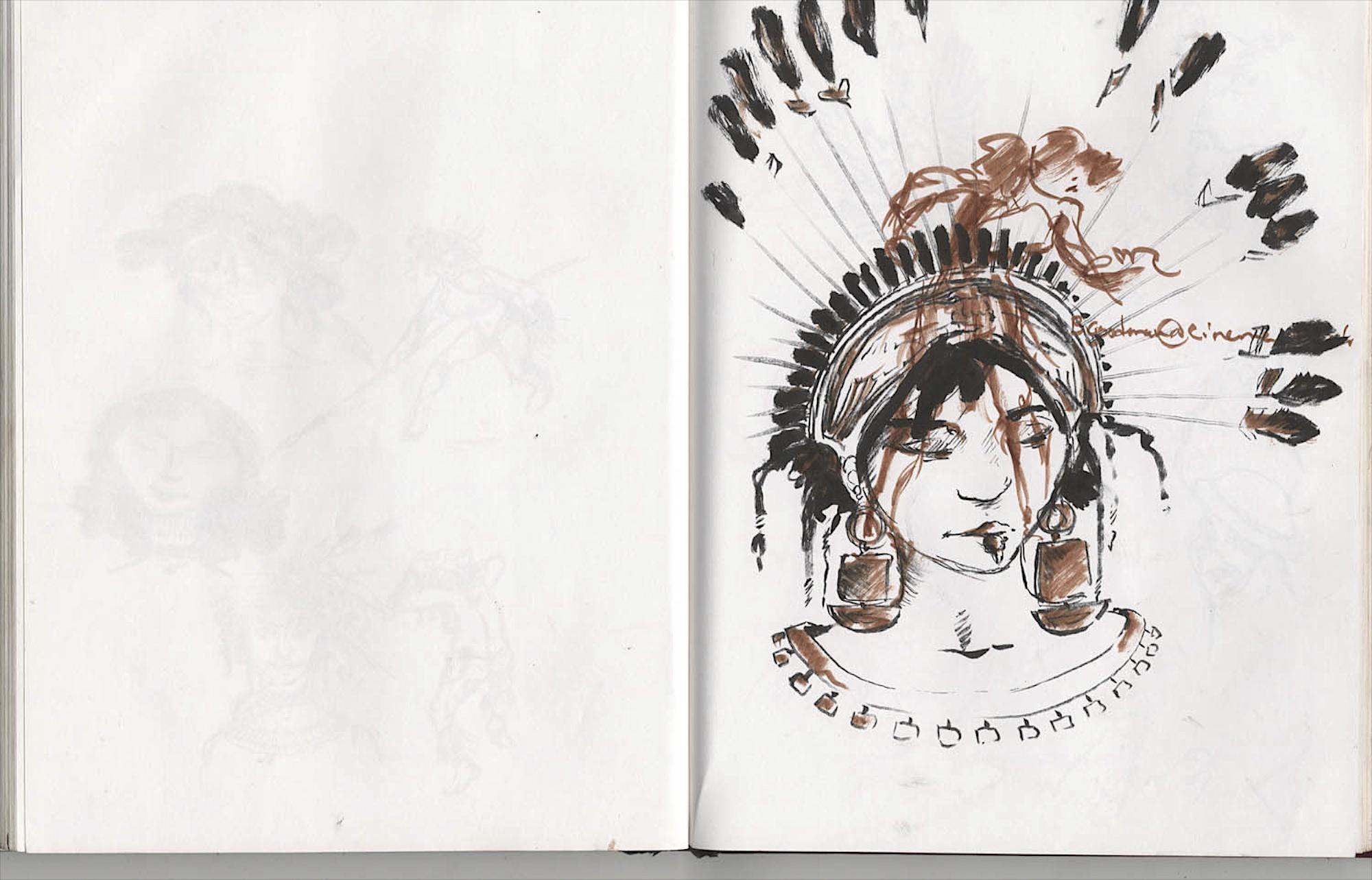 warrior head doodle