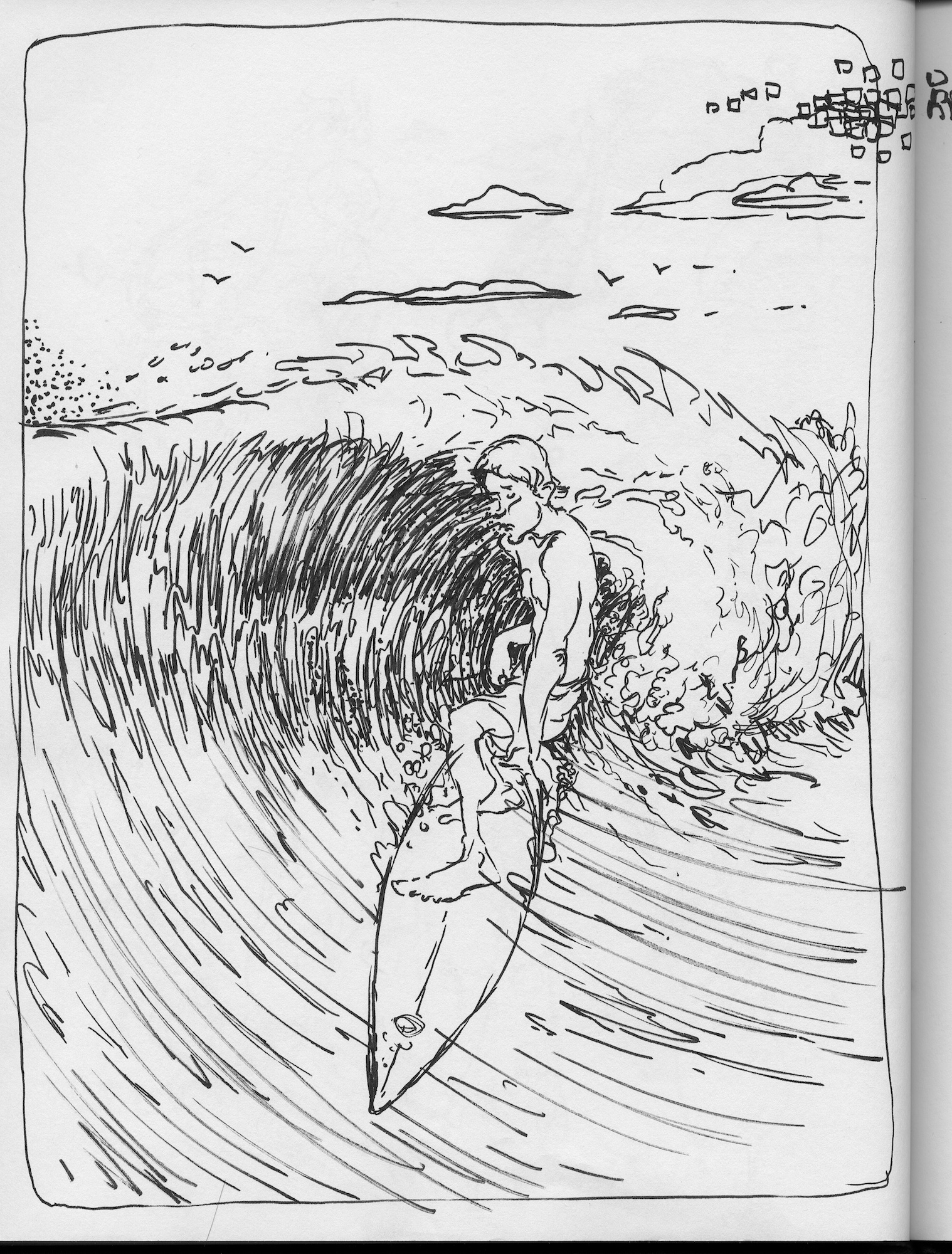 inky wave drawing
