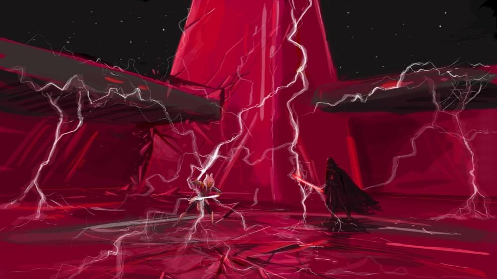 lightning lightsaber fight