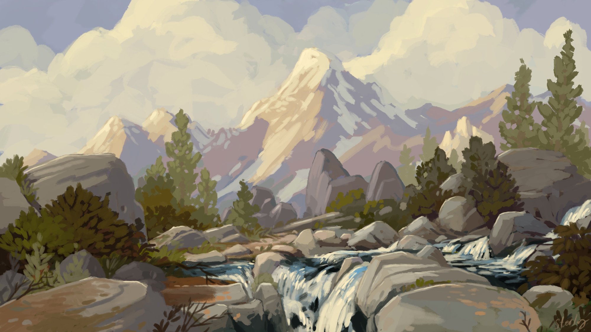 landscape, Art, mountain, snow, photoshop, Painting, impressionist, California