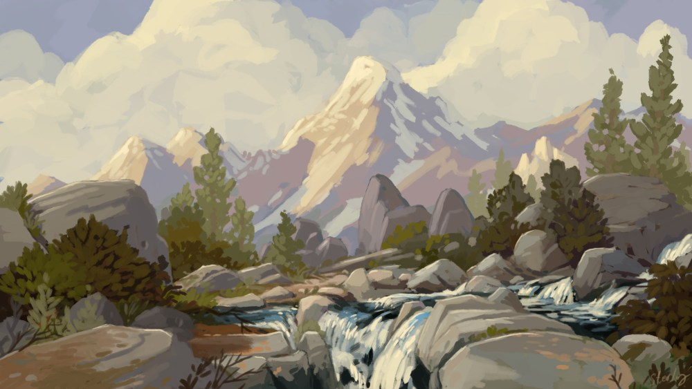 landscape, Art, mountain, snow, photoshop, Painting, impressionist, California