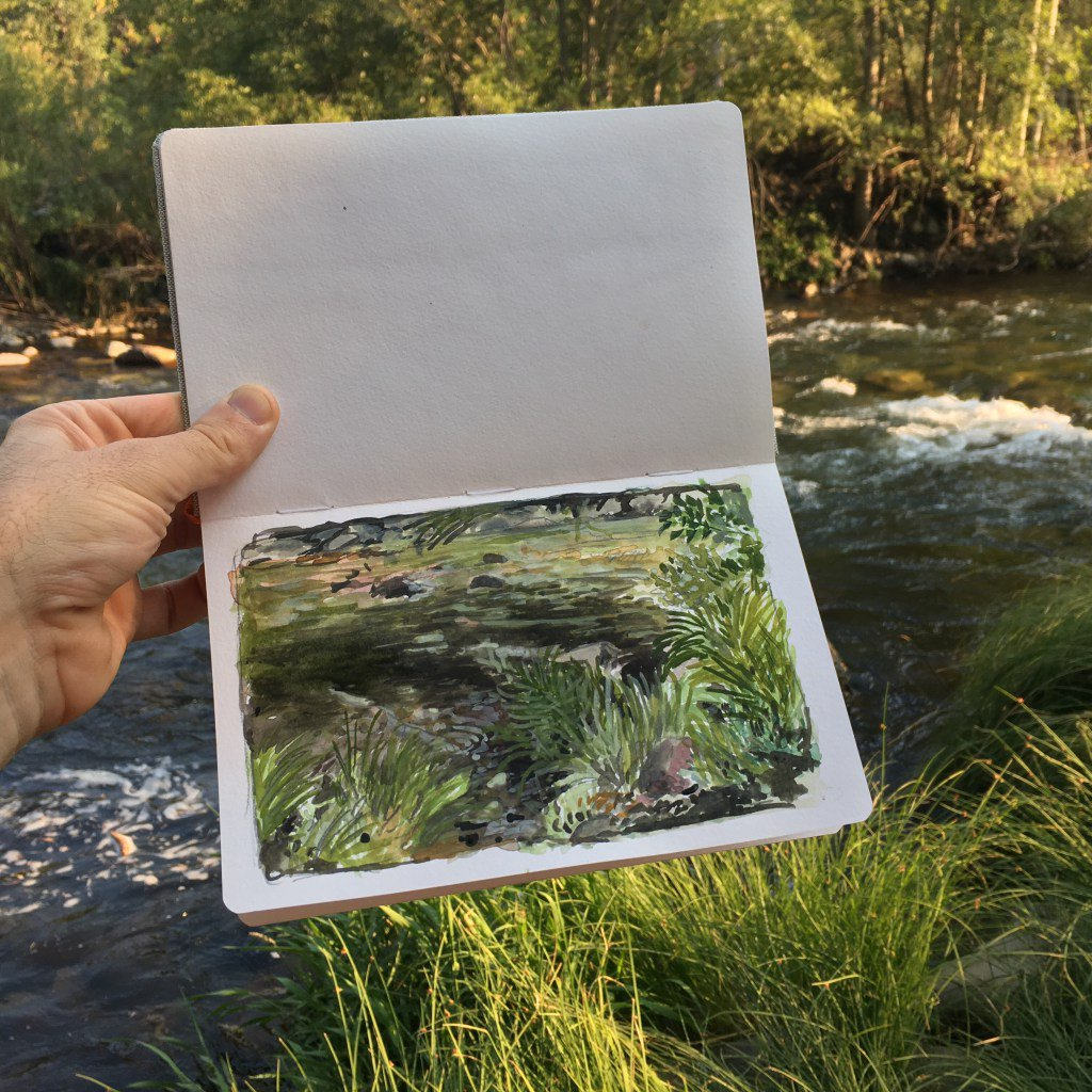river watercolor painting