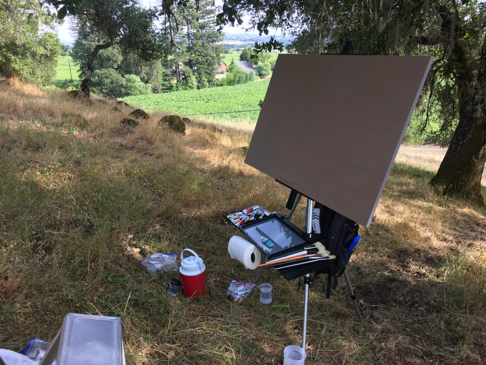 Oil painting setup outdoors