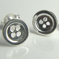 sterling silver sewing button with 4 see-through hole stud ...