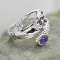 Sterling Silver Iris Flower Spoon Ring