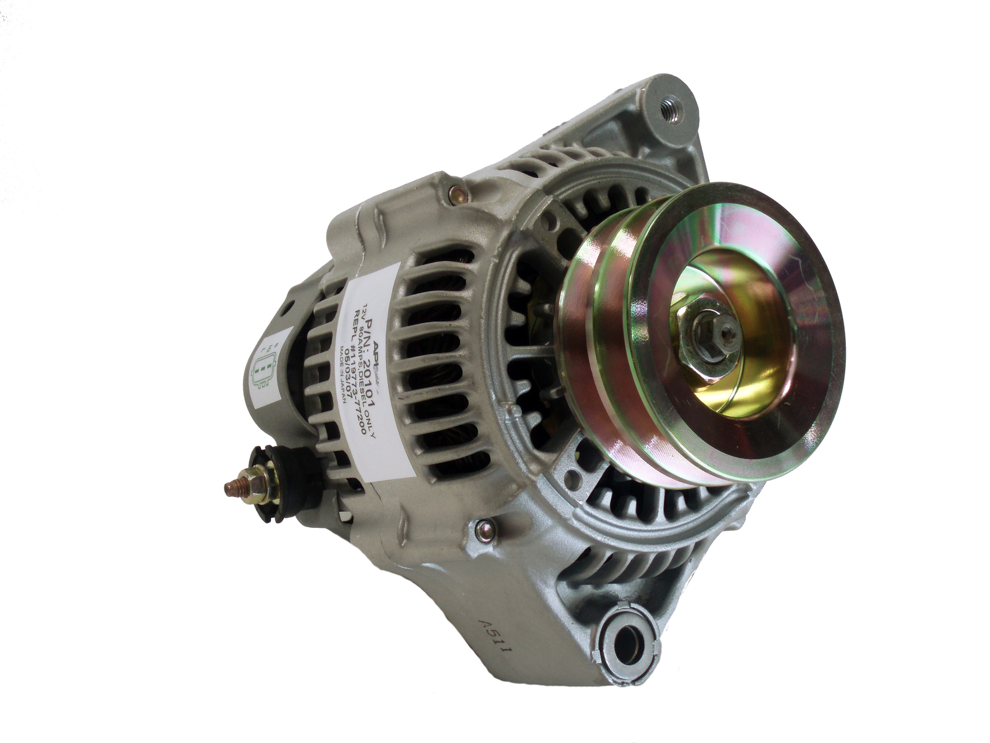 hight resolution of yanmar 6lp 12v 80 amp denso style alternator double pulley rplc yanmar 119773 77200 sterndrive engineering