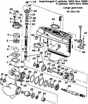 Johnson outboard parts 3 cylinder 60-75 hp. 1975-2001