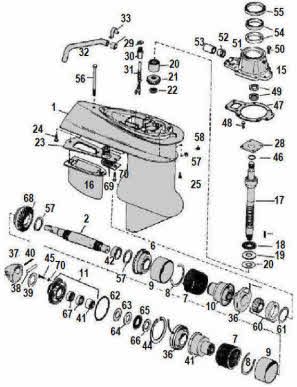 OMC parts drawing *Electric shift sterndrive