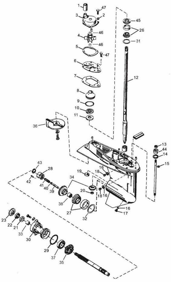 Mercury outboard parts drawing 40-60 hp. P/N 25 to 47