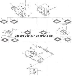 Mercruiser manifold and riser kits V6-V8-4 cylinder
