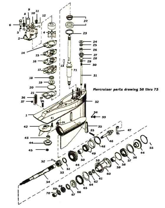 Mercruiser lower unit outdrive parts drawing #58 to 72