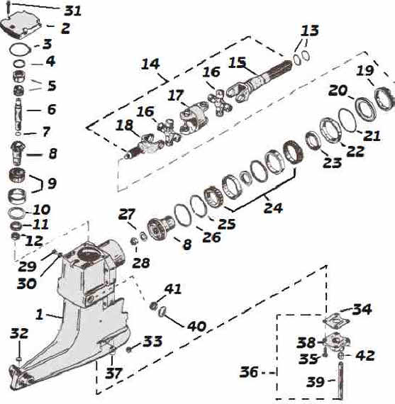 Mercruiser outdrive parts drawing for upper gearcase repair