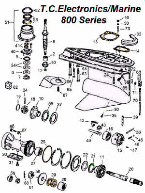 OMC parts drawing *Lower unit 800 outdrive 1-24