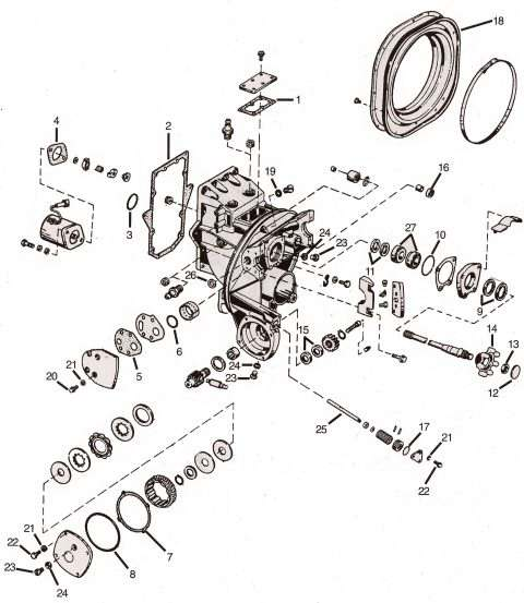 OMC intermediate housing parts & drawing