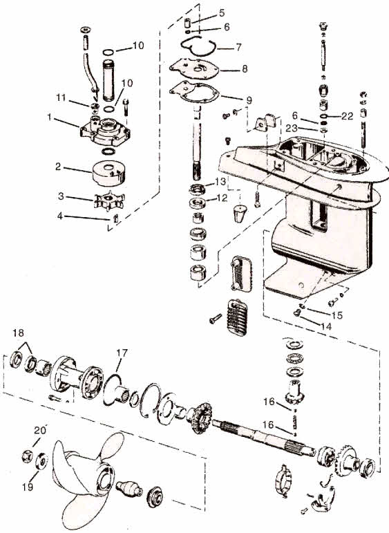 Johnson parts 20-35 hp. 2-3 cylinder drawing