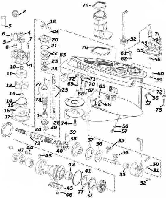 Johnson outboard parts V4-V6 type M drawings