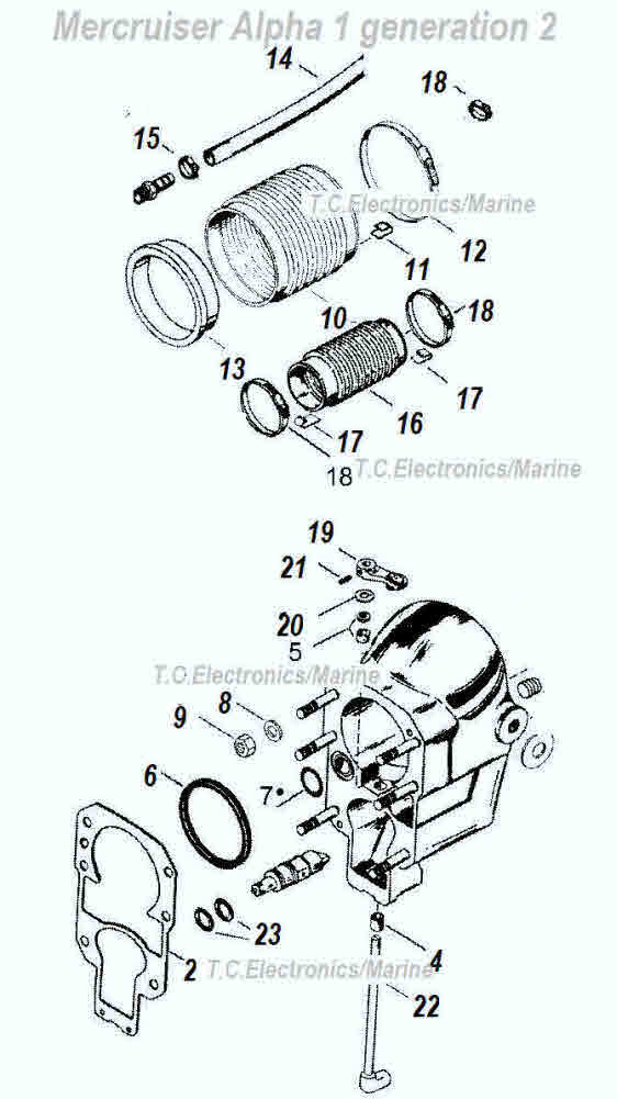 Mercruiser Alpha 1 gen 2 bell housing parts drawing