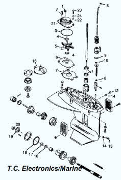 Mercury outboard parts drawing 18XD, 20 & 25 hp.