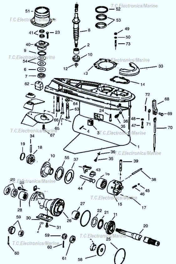 400 Series lower gearcase OMC parts drawing 1-22