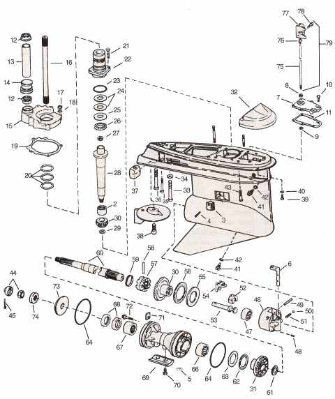 Cobra 3-3/4 lower unit OMC parts drawing