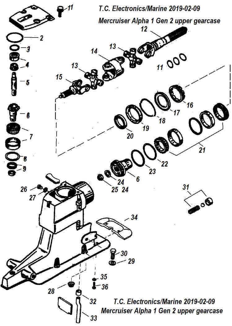 hight resolution of mercruiser alpha 1 gen 2 upper gearcase parts drawing