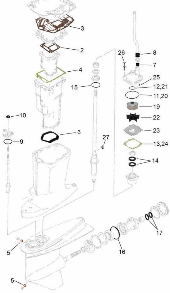 Yamaha parts 75-225 hp. V4-V6 Exploded view drawing