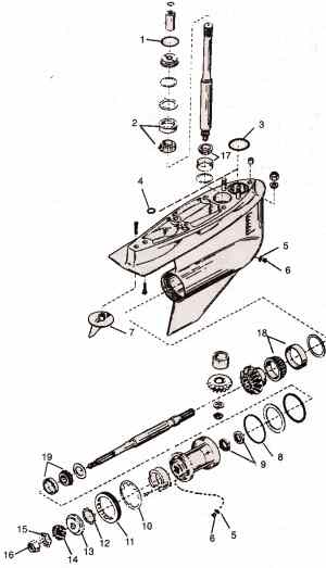 Mercruiser Bravo 1-2 lower gear-case parts drawing