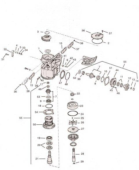 OMC stern drive water pump parts drawing