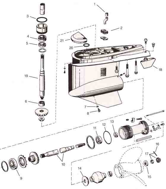 Volvo/OMC Cobra SX OMC parts drawing (Lower unit)