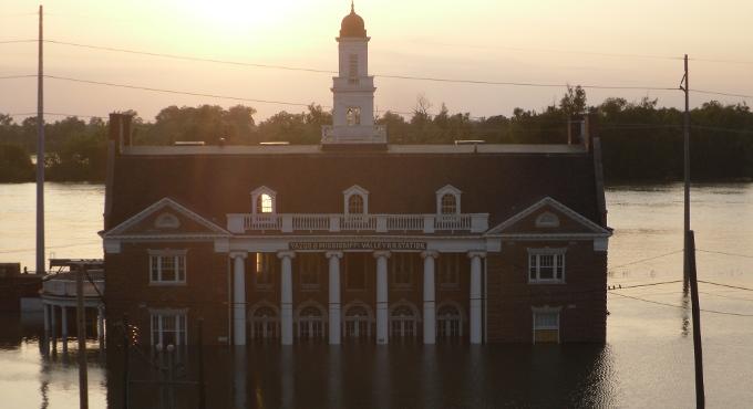flood inundation of train station